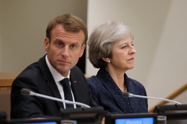 Le président français Emmanuel Macron et la Première ministre britannique Theresa May lors d'une conférence à l'occasion de l'Assemblée générale des Nations unies à New York City, le 25 septembre 2018