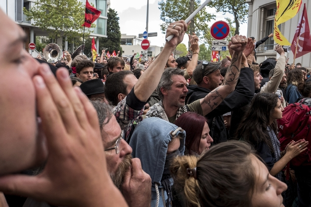 Des manifestants contre la réforme du code du travail à Lyon, le 12 septembre 2017