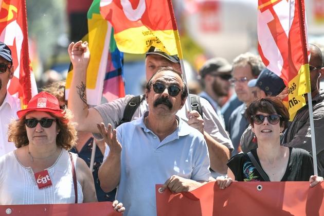 Le patron de la CGT Philippe Martinez lors d'une manifestation le 28 juin 2018 à Paris