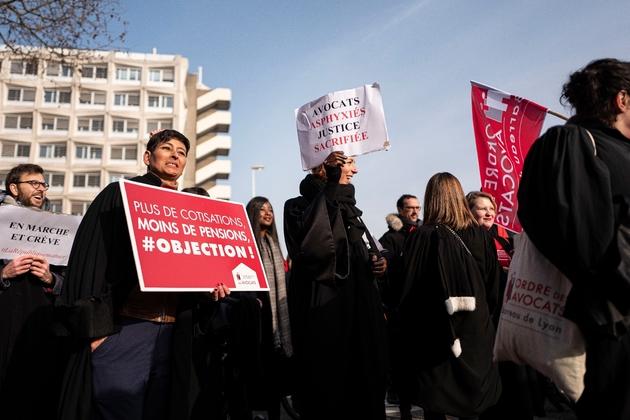 Manifestation d'avocats contre la réforme des retraites à Lyon, le 24 janvier 2020