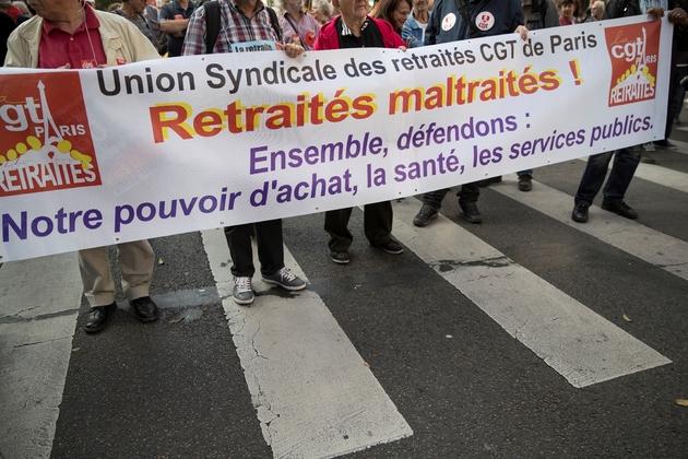 Manifestation de retraités dans le centre de Paris, le 18 octobre 2018, pour protester contre les baisses des pensions prévues l'an prochain