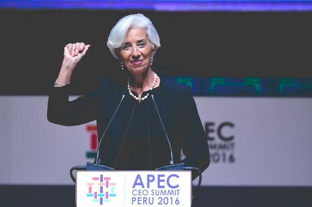 Le 18 novembre 2016 à Lima Christine Lagarde intervient en tant que présidente du FMI lors du sommet de l'APEC