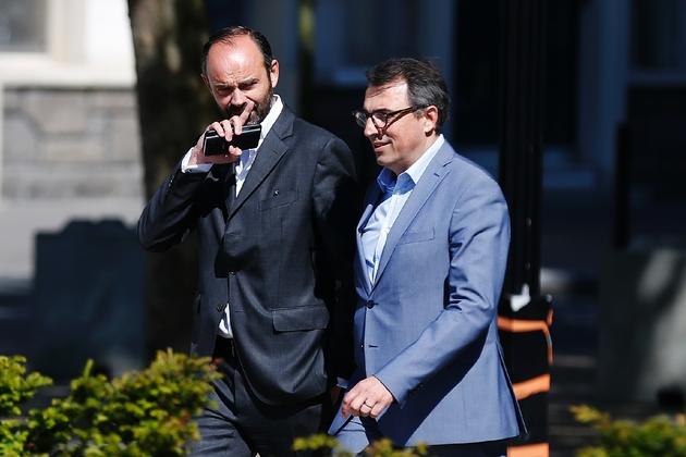 Le maire du Havre Luc Lemonnier (d) et le Premier ministre Edouard Philippe, le 20 mai 2017