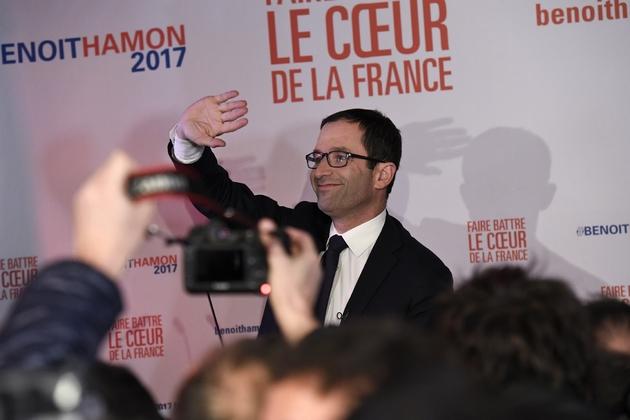 Benoît Hamon, arrivé en tête du premier tour de la primaire élargie du PS, le 22 janvier 2017 à paris