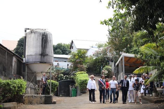 Le président Emmanuel Maron (c), la ministre du Travail Muriel Pénicaud (g) et la ministre des Outre-mer Annick Girardin visitent une ferme, le 25 octobre 2019 à Petite-Ile, à La Réunion