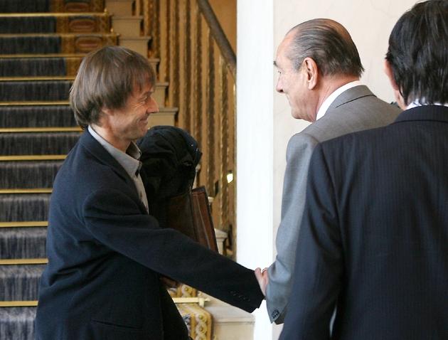 Jacques Chirac et Nicolas Hulot à l'Elysée, le 12 décembre 2006 à Paris