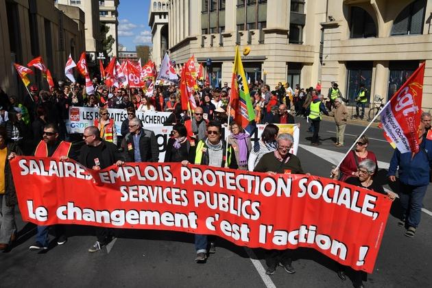 Manifestation à Montpellier le 19 mars 2019 pour réclamer davantage de pouvoir d'achat et défendre les services publics lors d'une journée d'action CGT-FO