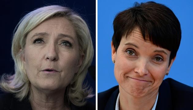 Montage de portraits de Marine Le Pen, présidente du FN, et Frauke Petry, codirigeante de l'AfD (Alternativae pour l'Allemagne)