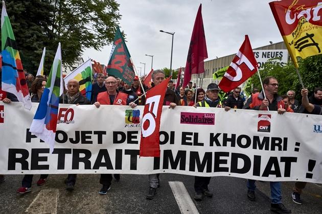 Manifestation contre la loi travail le 2 juin 2016 à Pierre-Bénite dans le centre de la France