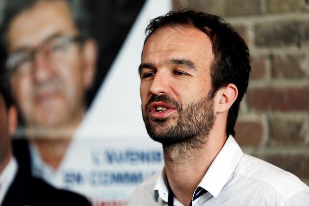 Manuel Bompard, directeur de campagne de Jean-Luc Mélenchon pour la campagne présidentielle de 2017, lors d'une conférence de presse au Havre, le 29 mars 2017