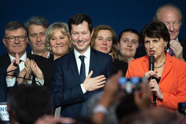Francois-Xavier Bellamy (C) tête de liste LR pour les Européennes le 16 mars 2019 à Lyon