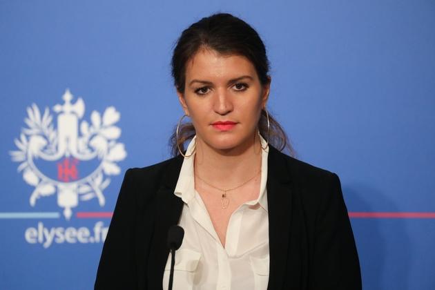 La secrétaire d'État à l'Égalité femmes-hommes, Marlène Schiappa, en conférence de presse à l'Élysée à Paris, le 21 mars 2018