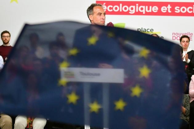 Raphael Glucksmann, à la tête d'une liste Place publique soutenue par le PS pour les élections européennes, lors de sa première réunion de campagne, à Toulouse le 6 avril 2019