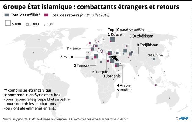 Groupe Etat islamique : combattants et retours