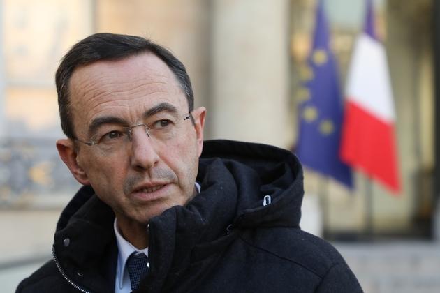 Le chef de file des sénateurs LR, Bruno Retailleau, quitte l'Elysée après un entretien avec le chef de l'Etat, le 5 février 2019