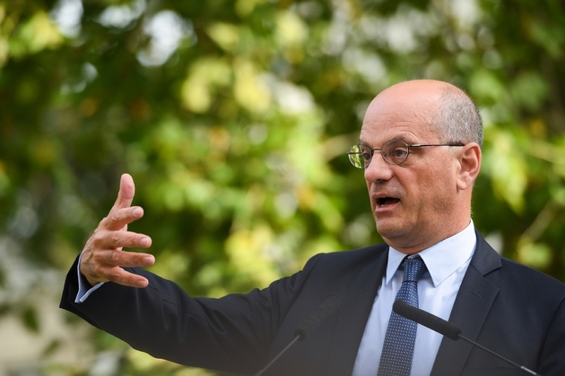 Le ministre de l'Education, Jean-Michel Blanquer lors d'une conférence de presse sur la rentrée scolaire, le 27 août 2019 à Paris
