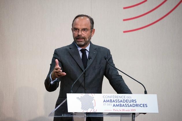 Le Premier ministre français Edouard Philippe s'exprime devant la conférence des ambassadeurs, le 28 août 2019 à Paris