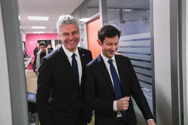 Le président des Républicains Laurent Wauquiez en visite dans le Territoire de Belfort avec François Xavier Bellamy, tête de la liste LR pour les élections européennes, le 1er Février 2019