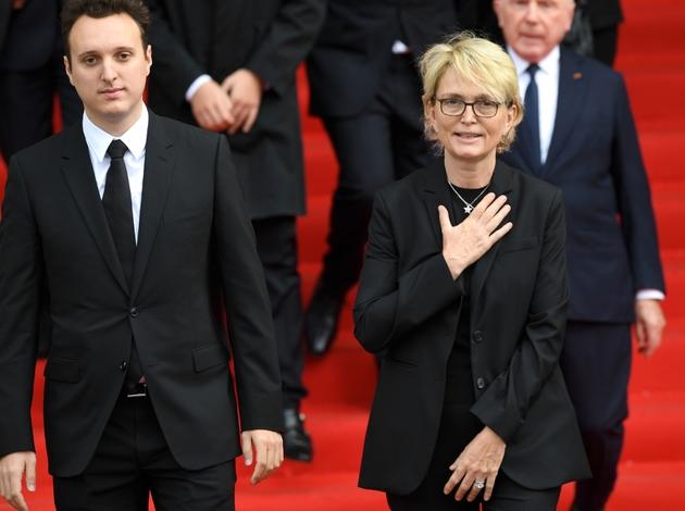 Claude Chirac, la fille de Jacques Chirac, et son fils Martin, après la messe en hommage à l'ancien président, le 30 septembre 2019