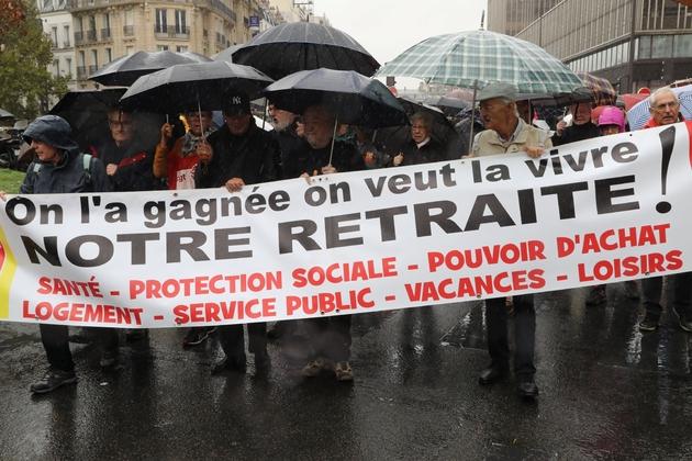 Manifestation en faveur des retraites à Paris le 8 octobre 2019
