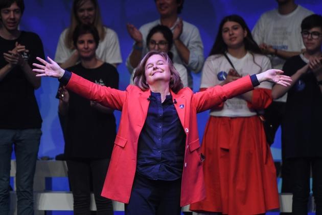 Nathalie Loiseau, tête de liste LREM aux européennes,  lors d'un meeting de fin de campagne à La Mutualité, le 24 mai 2019 à Paris