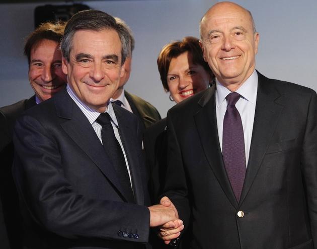 François Fillon et Alain Juppé à Paris le 19 avril 2017