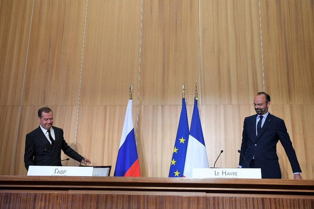 Dmitri Medvedev et Edouard Philippe au Havre, le 24 juin 2019