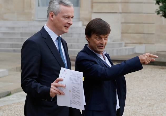 Le ministre de l'Economie Bruno Le Maire et Nicolas Hulot, alors ministre de la Transition énergétique, le 25 octobre 2017 à l'Elysée