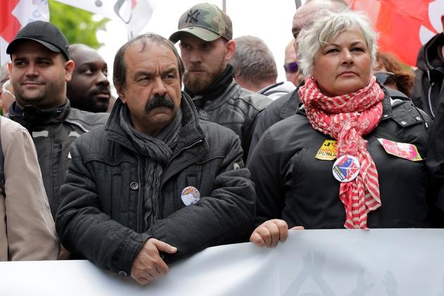 Le secrétaire général de la CGT Philippe Martinez en tête de cortège, à Paris le 9 mai 2019