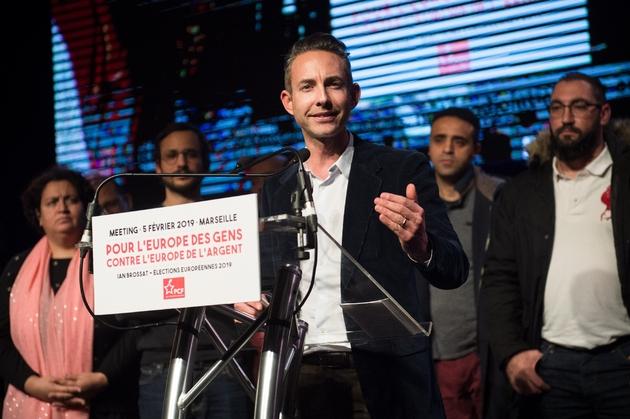 Ian Brossat, tête de liste du PCF pour les Européennes, lors d'un meeting de campagne à Marseille, le 5 février 2019