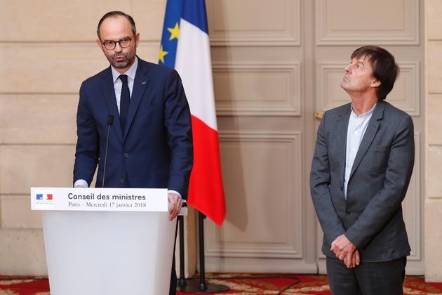 Le Premier ministre Edouard Philippe annonce l'abandon du projet d'aéroport de Notre-Dame-des-Landes, au côté du ministre de l'Ecologie Nicolas Hulot, le 17 janvier 2018 à l'Elysée