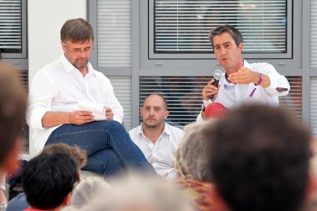 Le député LFI François Ruffin participe à un débat avec le député européen EELV Damien Carême aux journées d'été d'EELV le 23 août 2019 à Toulouse