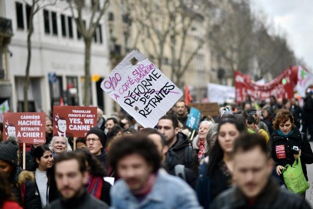 Manifestation des opposants à la réforme des retraites, à Paris le 20 février 2020
