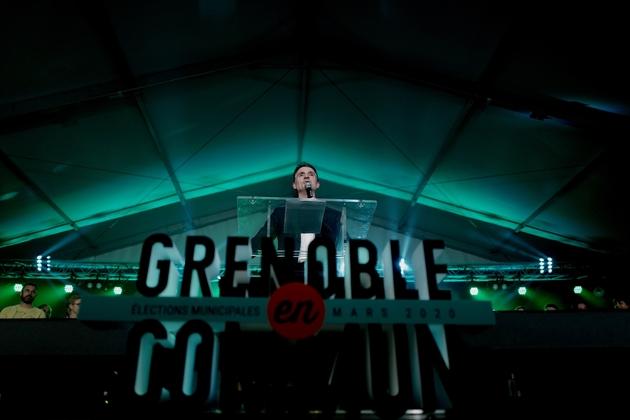 Le maire sortant écologiste de Grenoble Éric Piolle lors d'un meeting, le 11 mars 2020 à Grenoble