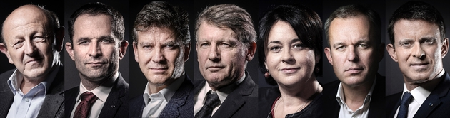 Les sept candidats à la primaire organisée par le PS lors de leur premier débat télévisé jeudi, à dix jours d'un scrutin très incertain.