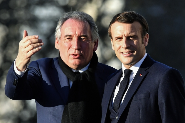 Le maire de Pau François Bayrou et le président Emmanuel Macron le 13 janvier 2020 à Pau
