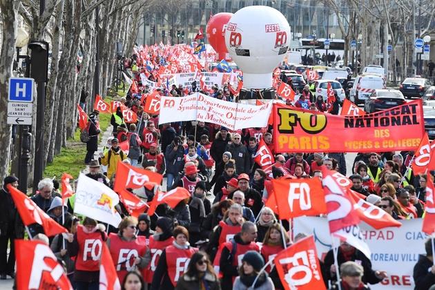 La manifestation des fonctionnaires à l'appel de FO, à Paris le 7 février 2019