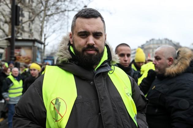"""Eric Drouet, figure des """"gilets jaunes"""", à Paris, le 2 février 2019"""