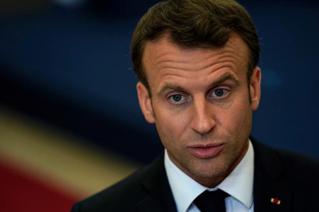 Le président Emmanuel Macron s'exprime devant la presse le 28 mai 2019 à Bruxelles