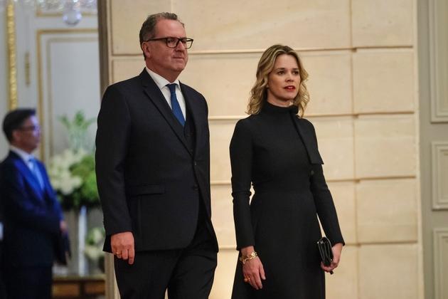 Le président de l'Assemblée nationale Richard Ferrand et sa compagne Sandrine Doucen le 15 octobre 2018 à Paris