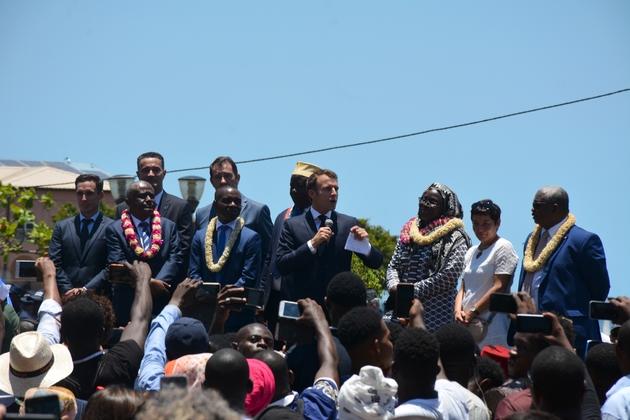 Le président Emmanuel Macron à Mamoudzou (Mayotte) le 22 octobre 2019