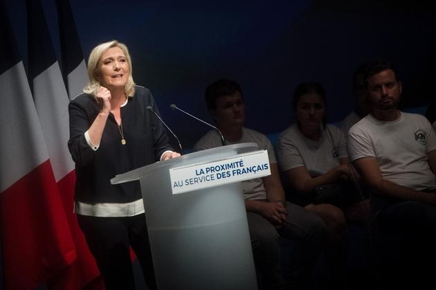 La présidente d RN Marine Le Pen, durant son discours à l'université d'été du parti le 15 septembre 2019 à Fréjus