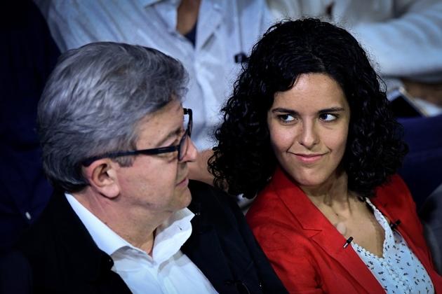 Jean-Luc Mélenchon et Manon Aubry, tête de liste LFI aux Européennes, lors d'un meeting à Marseille, le 11 mai 2019
