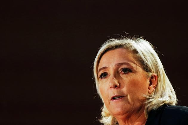 Marine Le Pen, présidente du Rassemblement National (RN), le 9 février 2019 à Saint-Ebremond-de-Bonfosse, dans la Manche
