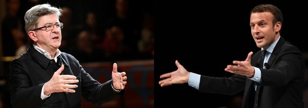 Montage de photos de Jean-Luc Mélenchon et Emmanuel Macron