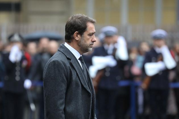 Le ministre de l'Intérieur Christophe Castaner lors de la cérémonie d'hommage aux policiers tués à la préfecture de police, le 8 octobre 2019 à Paris
