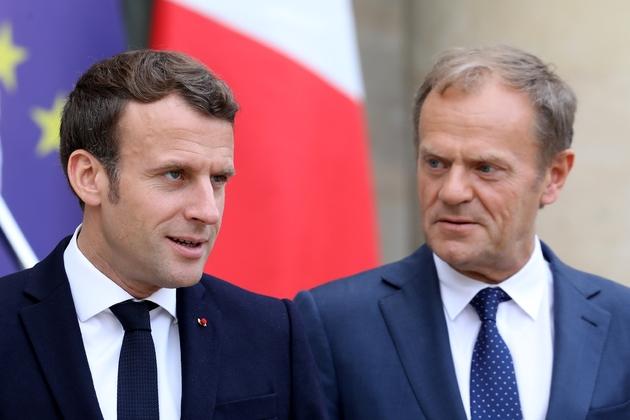 le président français Emmanuel Macron et le président du Conseil européen Donal Tusk le 20 mai à Paris