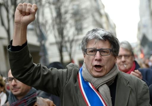 Eric Coquerel, coordinateur politique du Parti de gauche, lors d'une manifestation en soutien à la Grèce, à Paris le 15 février 2015