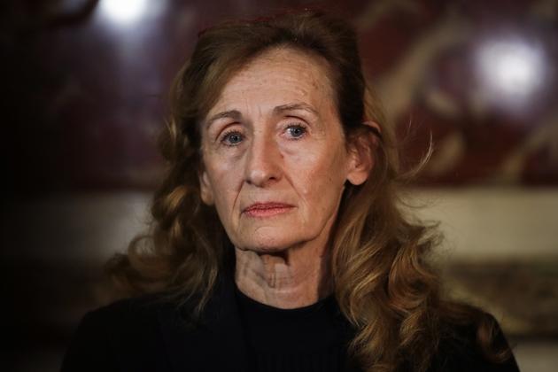 La ministre de la Justice, Nicole Belloubet, s'adresse à la presse après une réunion avec les syndicats de surveillants de prison au ministère de la Justice, le 22 janvier 2018 à Paris