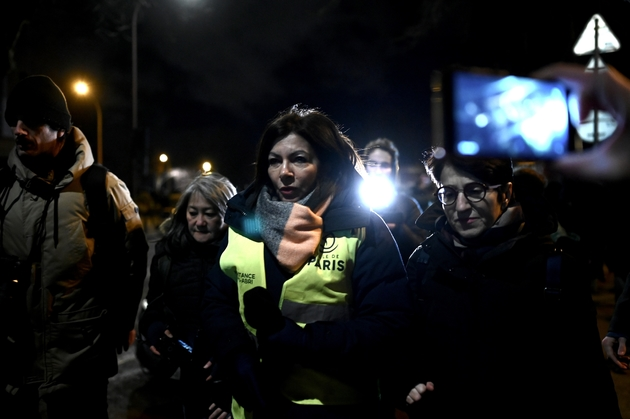 Anne Hidalgo sur le campement de la Porte d'Aubervilliers, le 28 janvier 2020
